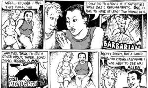 """L'appariton du Test de Bechel dans un épisode """"Lesbiennes à Suivre"""", Alison Bechdel, 1985"""